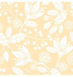 Yellow and white silhouettes flowers seamless vector
