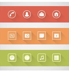 Flat shadow icons set vector