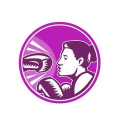 Female boxer punch retro vector