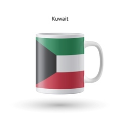 Kuwait flag souvenir mug on white background vector
