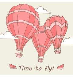 Hot air balloons on the sky vector