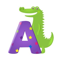 Green alligator with letter vector
