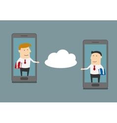 Businessmen exchange information via cloud service vector