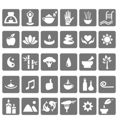 Spa yoga zen flat icons isolated on white vector