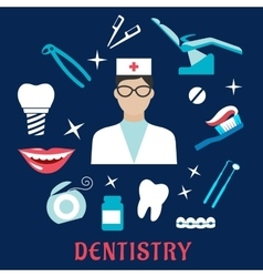 Dentistry concept with dentist and dental elements vector