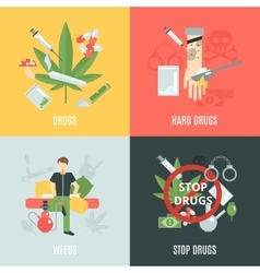 Drugs flat set vector