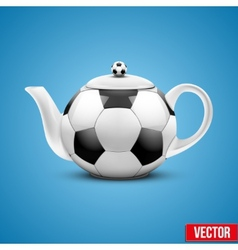 Ceramic teapot in soccer ball style vector
