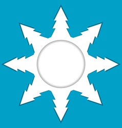 Snowflake made of christmas tree with place for vector