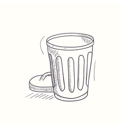 Sketched empty trash bin desktop icon vector