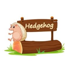 Cartoon zoo hedgehog sign vector