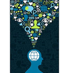 Social media brain communication splash vector