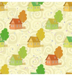 Seamless pattern cartoon houses and trees vector