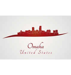 Omaha skyline in red vector