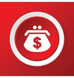 Dollar purse icon on red vector