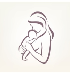 Mom and baby stylized symbol outlined sketch vector