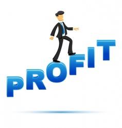 Businessman climbing on profit text vector