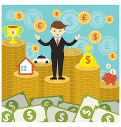 Businessman on top of gold coins and money vector