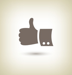 Thumb up gesture good icon hand on beige vector