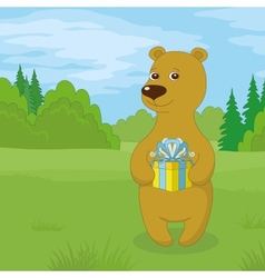 Teddy bear with gift on meadow vector