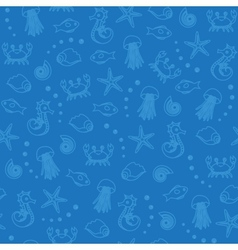 Sea life seamless pattern in blue vector