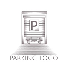 Parking garage icon with text vector