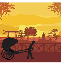 Chinese rickshaw vector