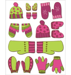 Winter gloves set vector