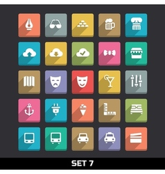 Trendy icons with long shadow set 7 vector