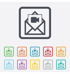 Video mail icon video camera symbol message vector