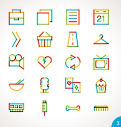 Highlighter line icons set 3 vector