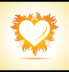 Abstract valentine day card with fire heart vector