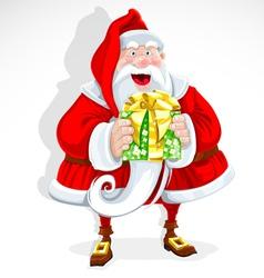 Cute santa claus give a gift vector