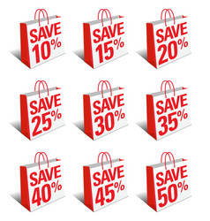 Sale save shopping bags carrier bags symbols vector
