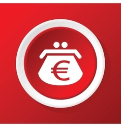Euro purse icon on red vector