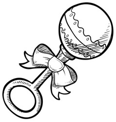 Doodle baby rattle vector