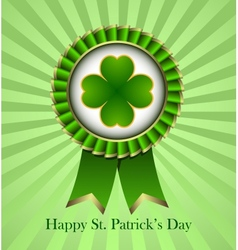 St patricks day rosette ribbon vector