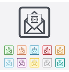 Video mail icon video frame symbol message vector