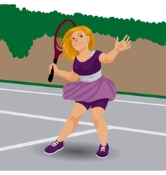 Cute tennis player in cartoon style vector