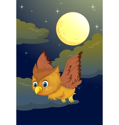 Cute owl flying in the evening vector