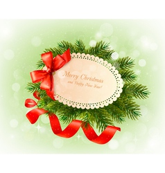 Christmas card with bow and christmas tree vector