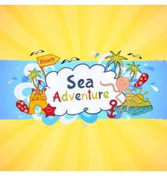 Colorful beach banner with cartoon elements vector