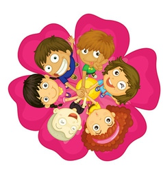 Kids on a flower vector