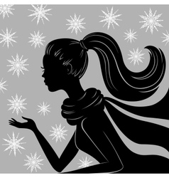 Silhouette of young woman vector