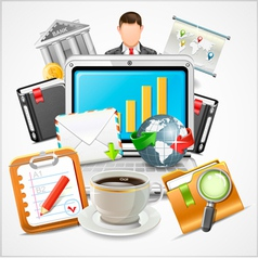Icons workplace items of business vector