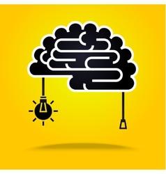Black brain on yellow vector