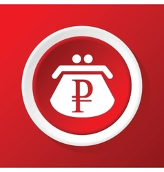 Ruble purse icon on red vector