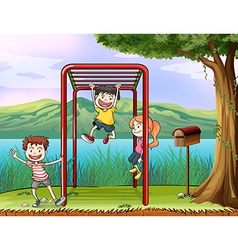 Cartoon monkey bar kids vector