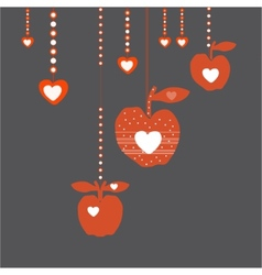 Red love apples vector