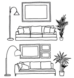 Couch and blank picture frame mock-up vector