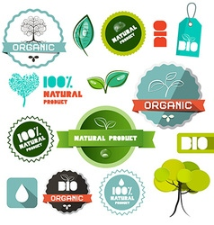 Bio organic natural product flat design labels - vector